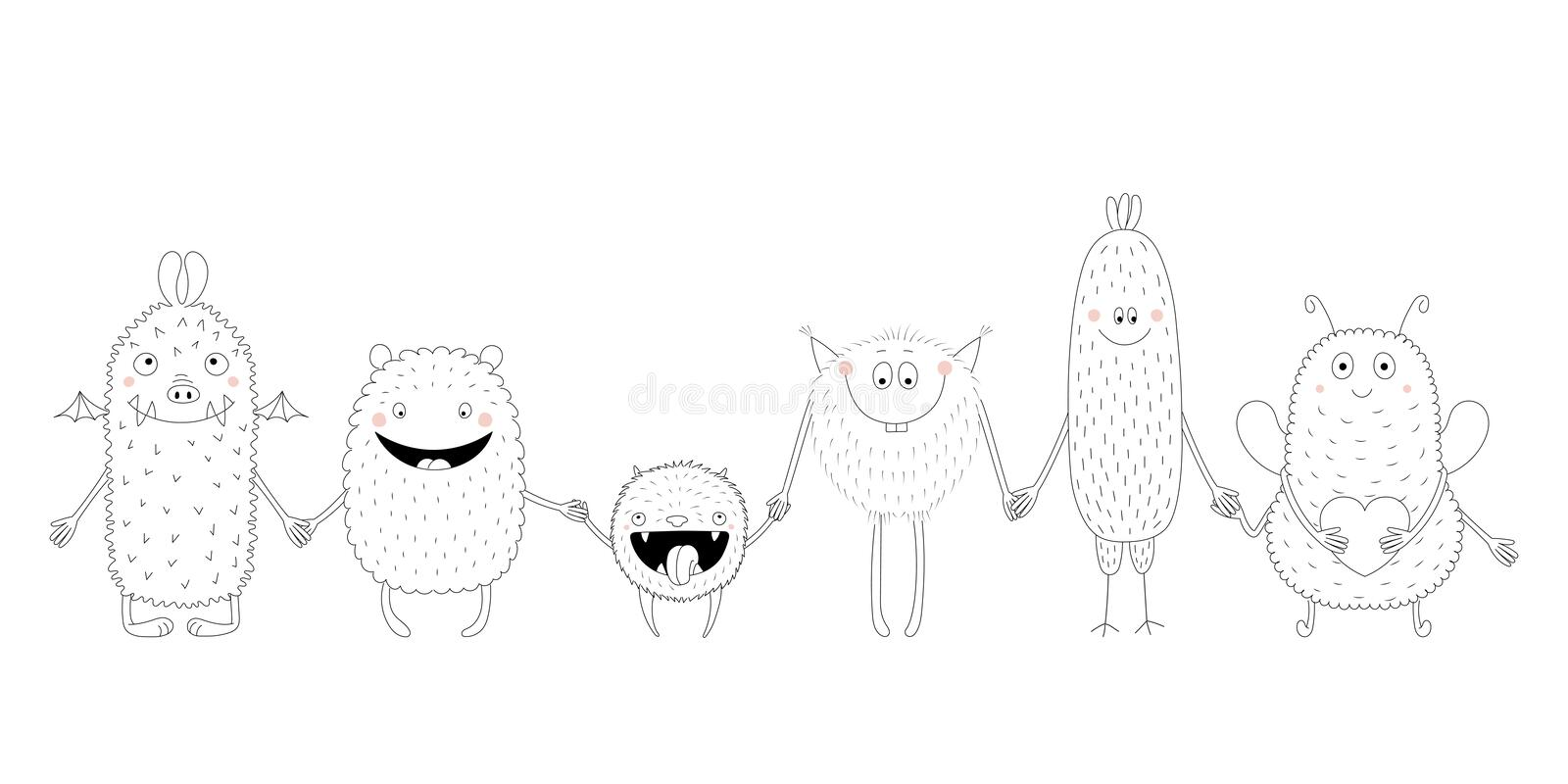 Cute monsters coloring pages. Hand drawn black and white vector illustration of of cute funny monsters smiling and holding hands. Isolated objects. Design vector illustration