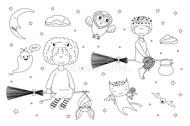 Cute witches coloring pages. Hand drawn black and white vector illustration of cute funny witch girls flying on broomsticks, bat, ghost, owl, cat with wings stock illustration