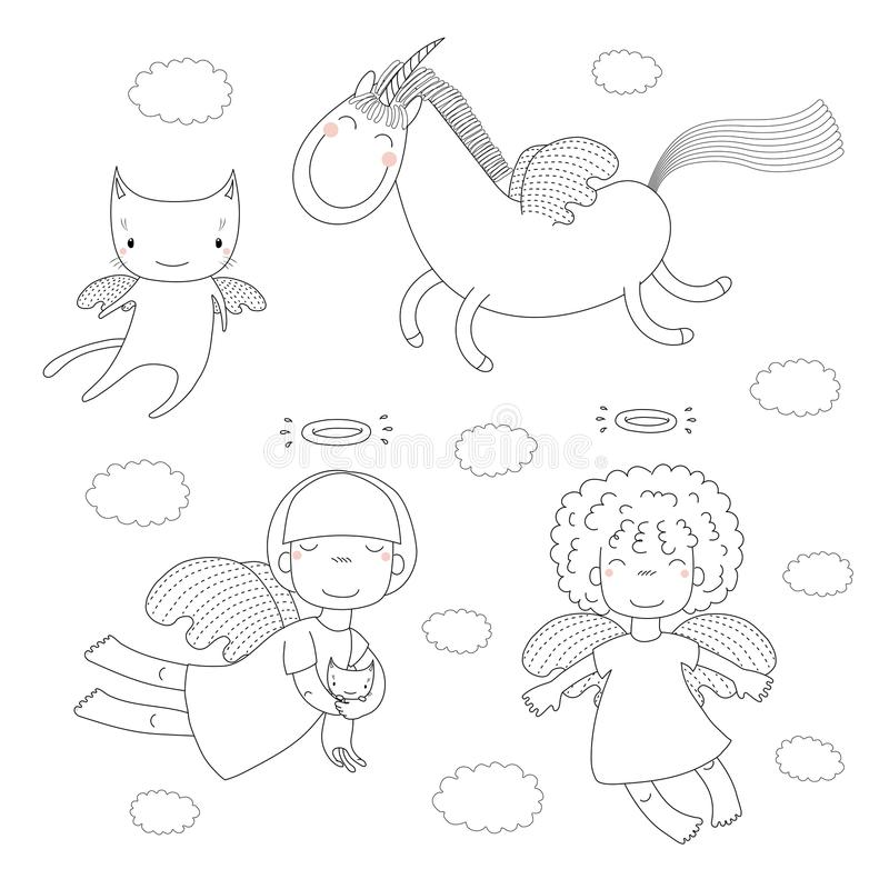 Cute angels coloring pages. Hand drawn black and white vector illustration of cute little angel girls, one holding a kitten, cat with wings and unicorn. Isolated vector illustration