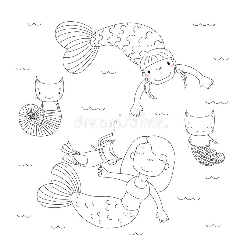 Cute Mermaids Coloring Pages Stock Vector - Illustration of doodle ...