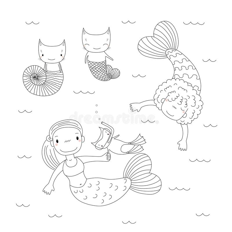 Cute mermaids coloring pages. Hand drawn black and white vector illustration of cute little mermaid girls, cat in swim fins and scuba mask, in a sea shell, with vector illustration