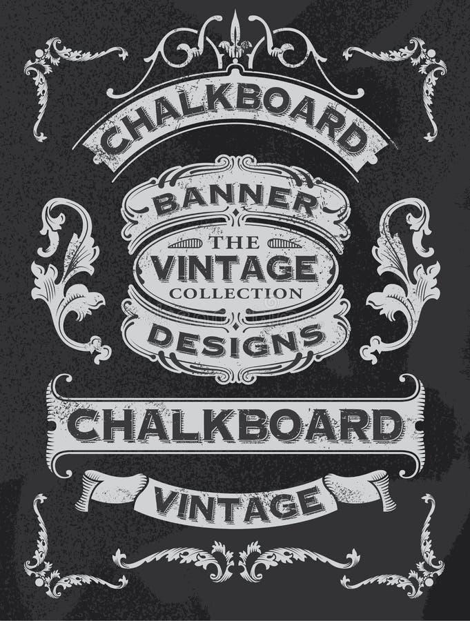 Hand drawn blackboard banner and ribbon vector design stock illustration