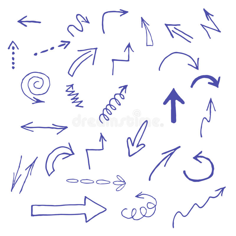 Hand drawn blue arrows icons set on white royalty free stock image