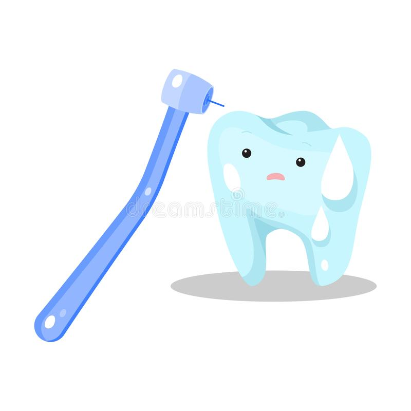Blue stressed sweating tooth ready for being cured vector illustration royalty free stock photography