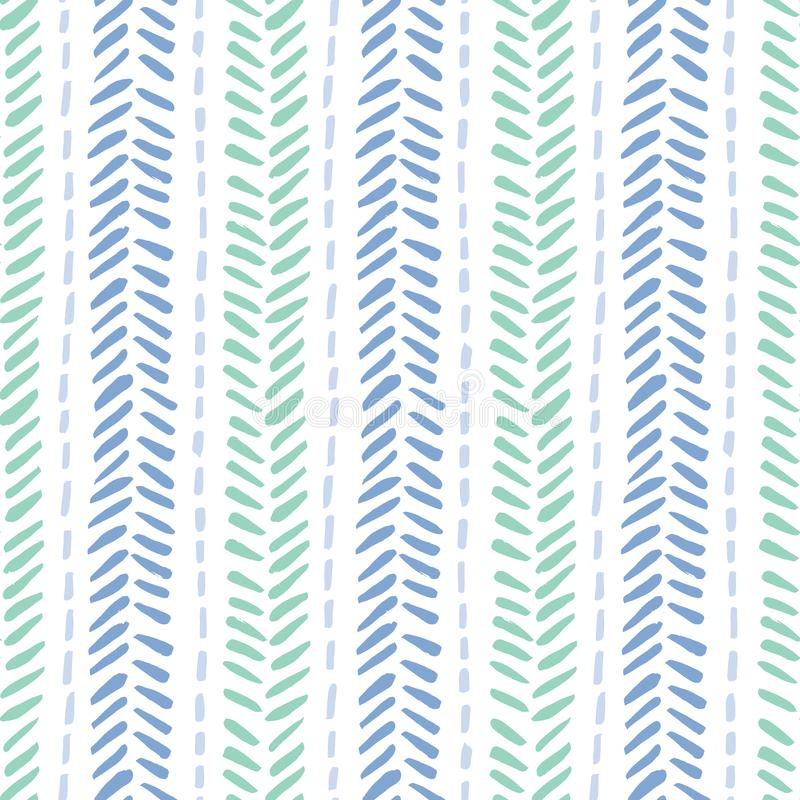 Hand drawn tribal herringbone stitches on white background vector seamless pattern. Fresh abstract geometric drawing royalty free illustration