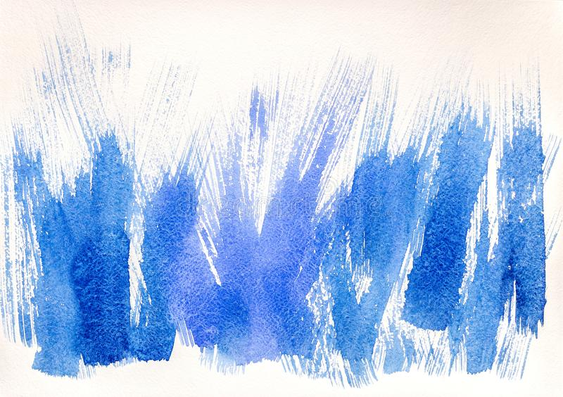 Hand drawn blue watercolor with expressive brush strokes stock photo
