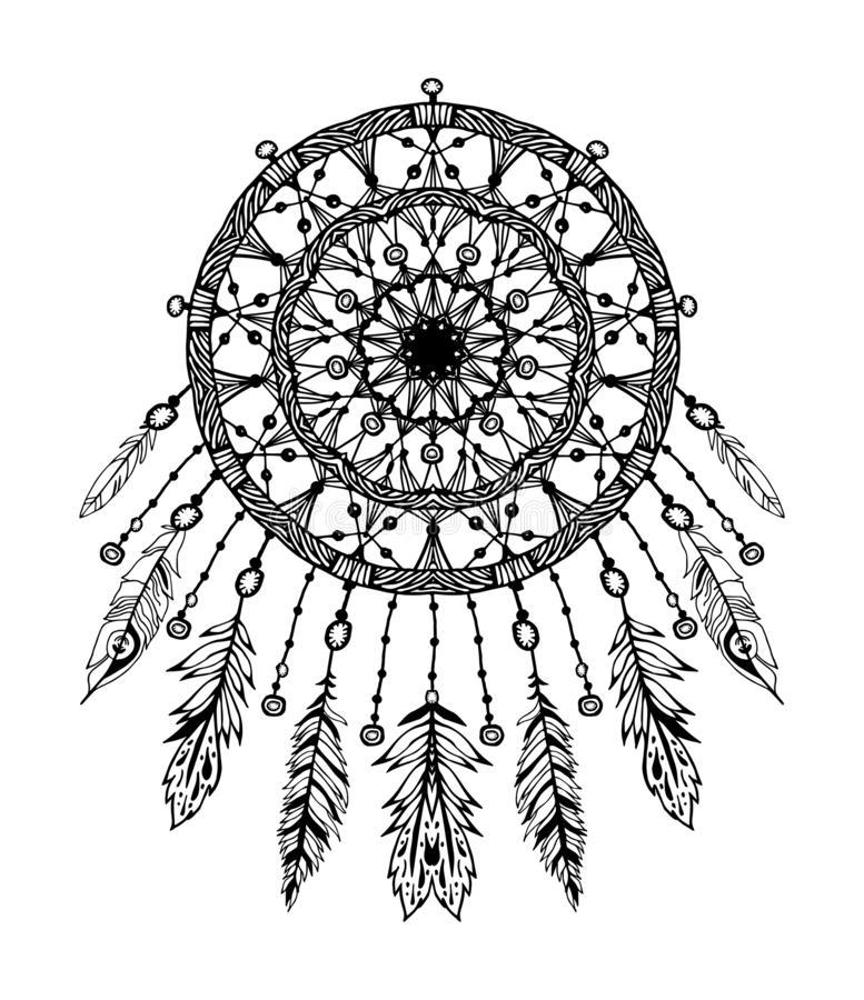 Hand drawn bohemian vector Dreamcatcher royalty free illustration