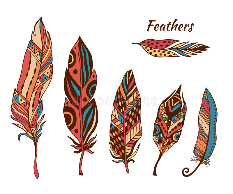 Hand drawn boho feathers vector collection. Set of doodle ethnic color feathers. Cute zentangle feather stock illustration