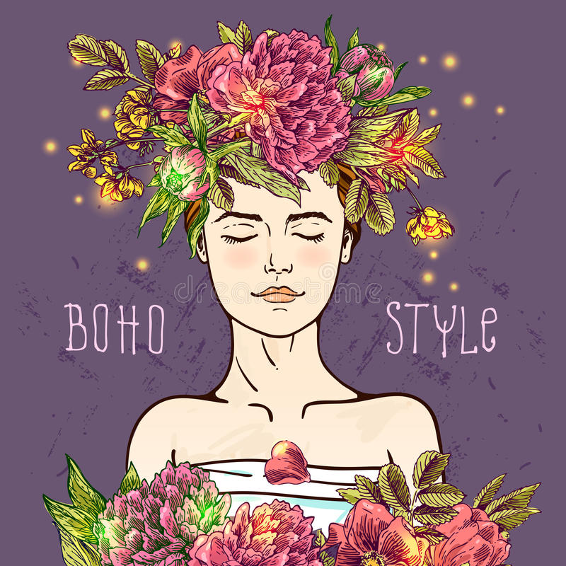 Hand drawn boho girl vector illustration