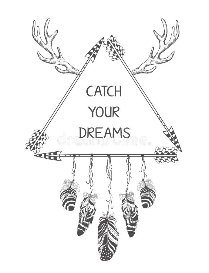 Hand drawn boho style design with arrow and feathers. Hippie fashion decoration for t-shirt or tattoo vector illustration