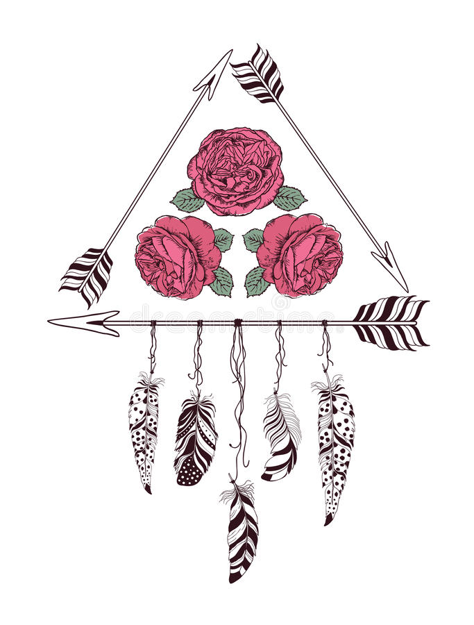 Hand drawn boho style design with rose flower, arrow and feathers. Hippie fashion decoration for t-shirt or tattoo royalty free illustration