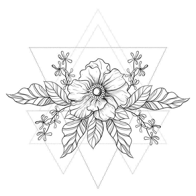 Flower Frame Line Drawing : Hand drawn boho tattoo blackwork flower in hipster