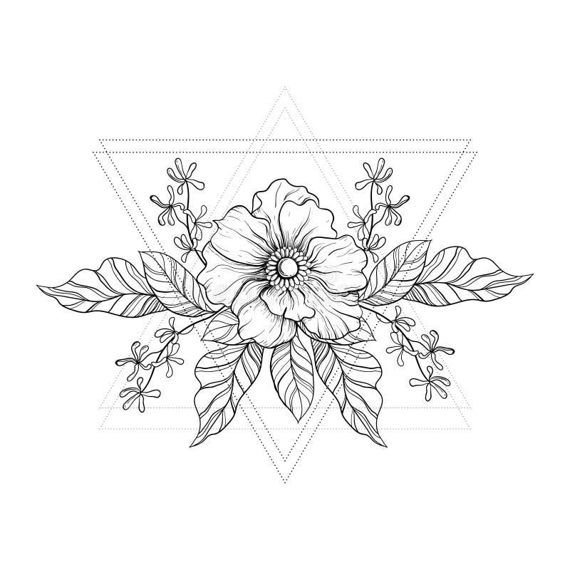 Hand drawn boho tattoo. Blackwork flower in hipster triangles royalty free illustration