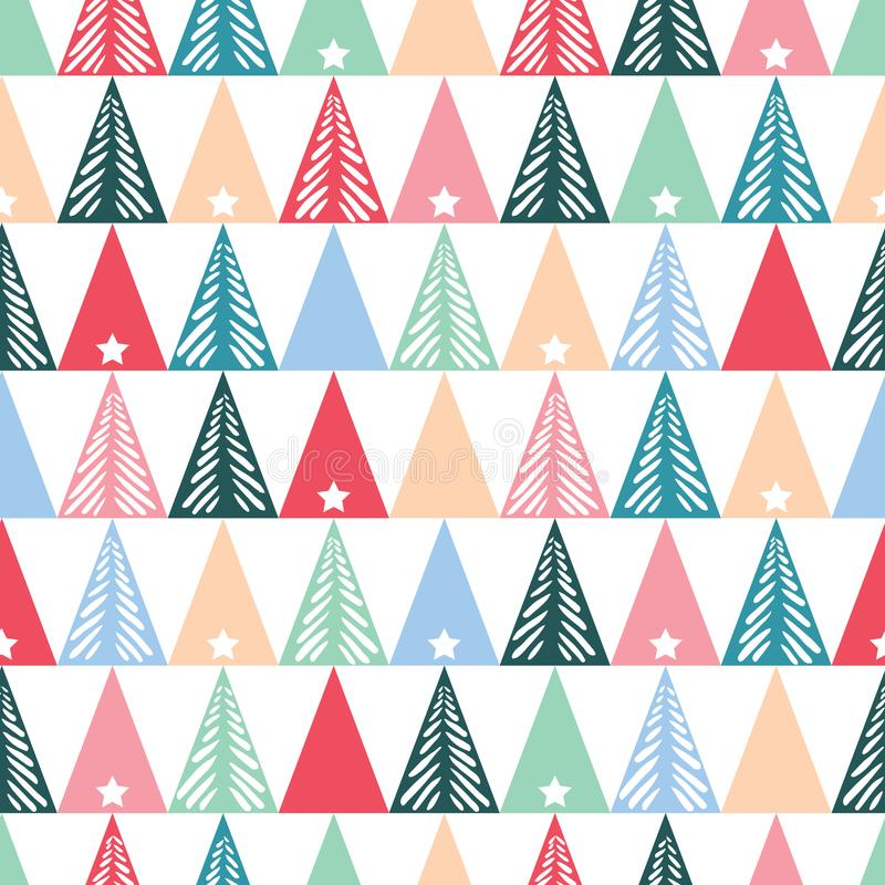 Hand drawn abstract Christmas trees, stars, triangles vector seamless pattern background. Winter Holiday Scandinavian stock illustration