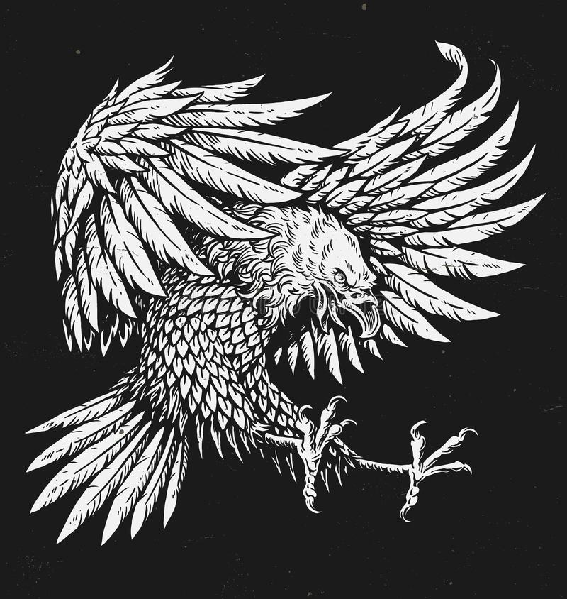 Hand drawn bold linework swooping tattoo eagle.  royalty free illustration