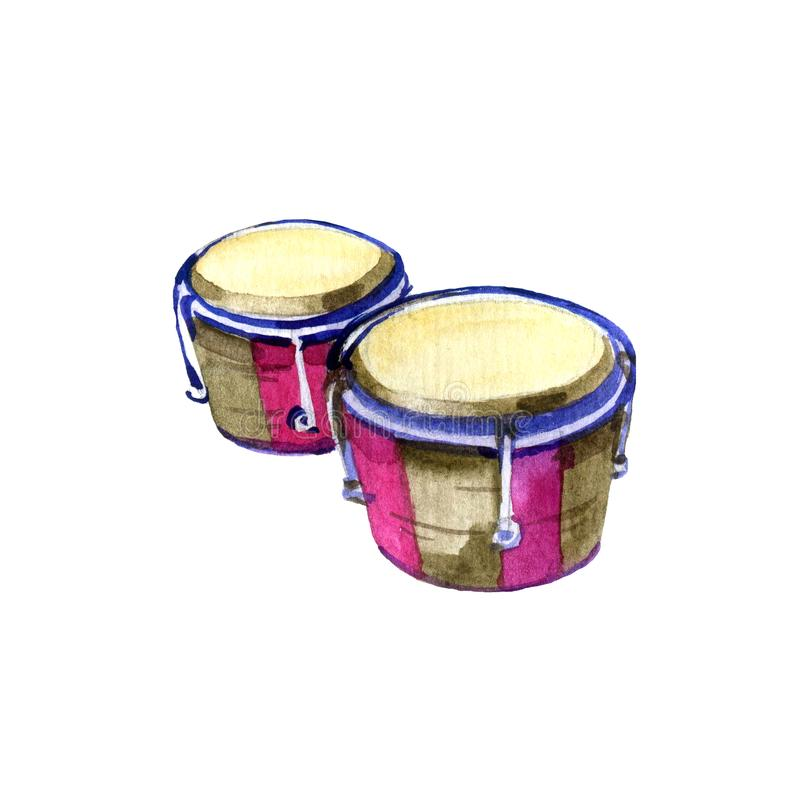 Hand drawn bongos. Watercolor sketch of traditional latin percussion instrument. vector illustration
