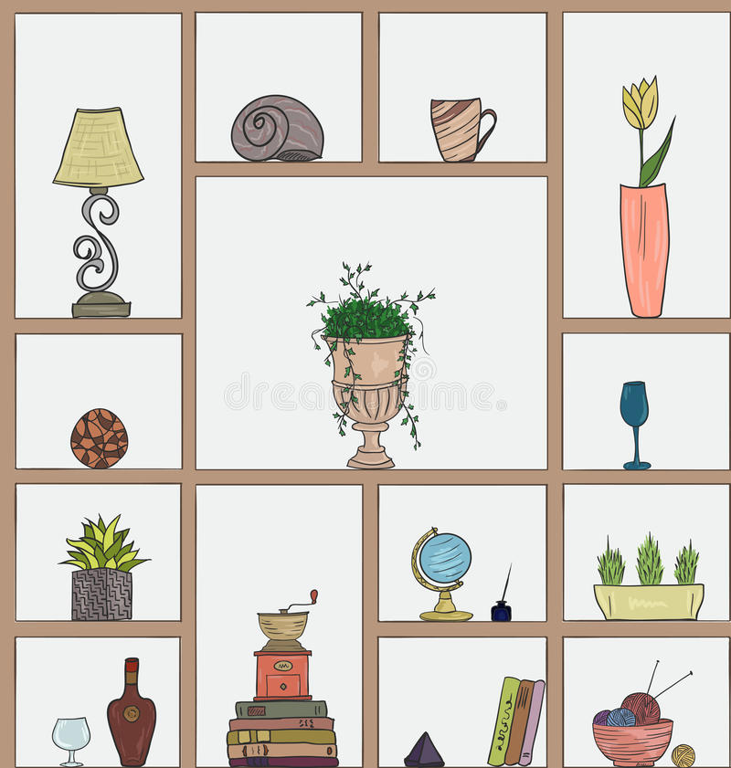 Hand drawn book shelves seamless pattern background royalty free illustration