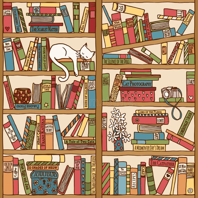 Hand drawn bookshelf with sleeping cat royalty free illustration