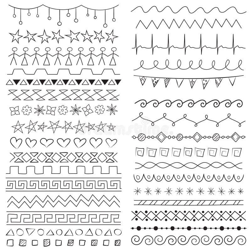 Hand drawn border lines. Hand drawn decorative seamless border lines dividers vector illustration
