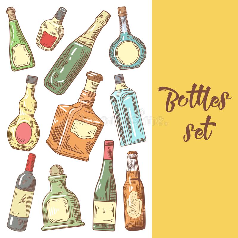 Hand Drawn Bottles Menu Design. Wine, Cognac Bottle Sketch. Vector illustration vector illustration