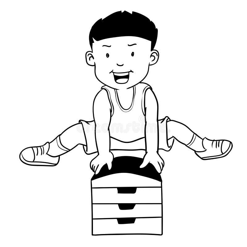 Hand drawn Boy Jumping Gymnastic Buck-Cartoon Vector vector illustration