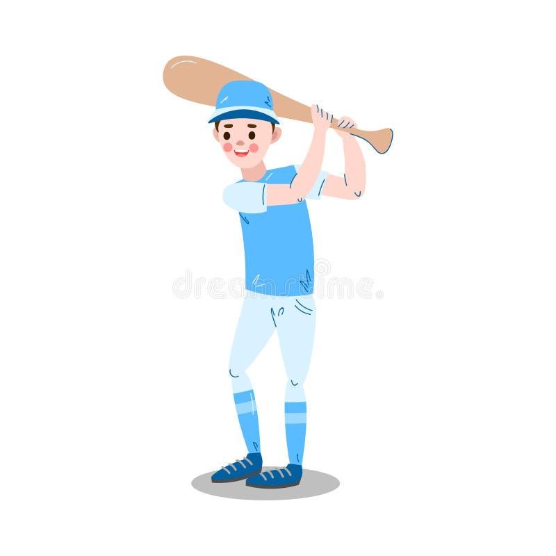 Boy holding baseball bat to hit ball vector illustration royalty free illustration