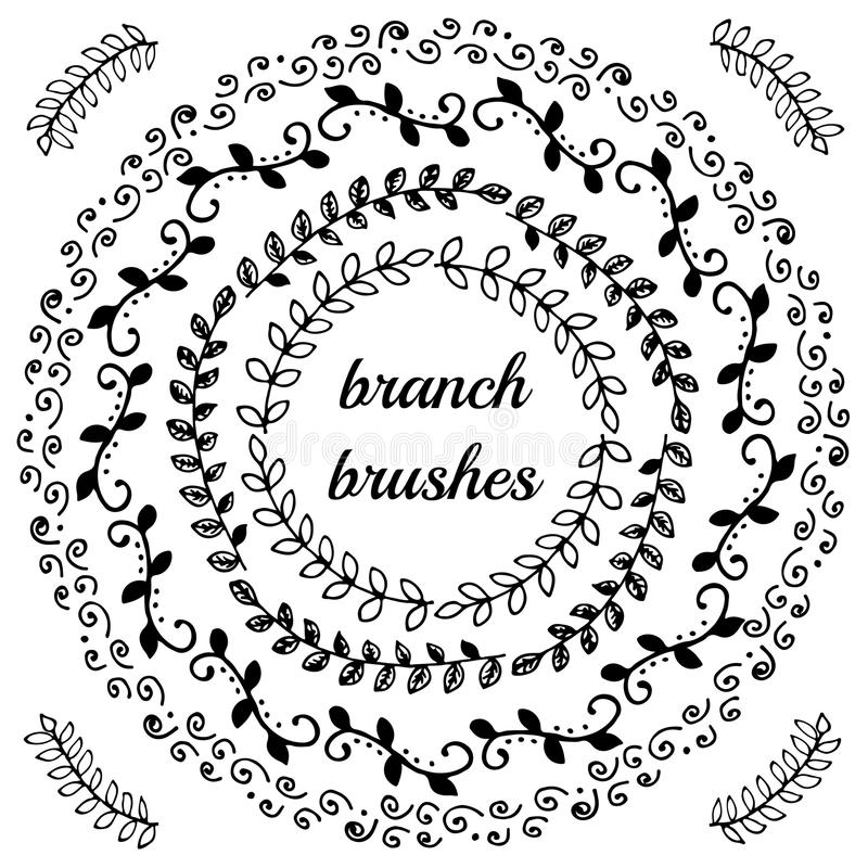 Hand drawn branch brushes. stock photography