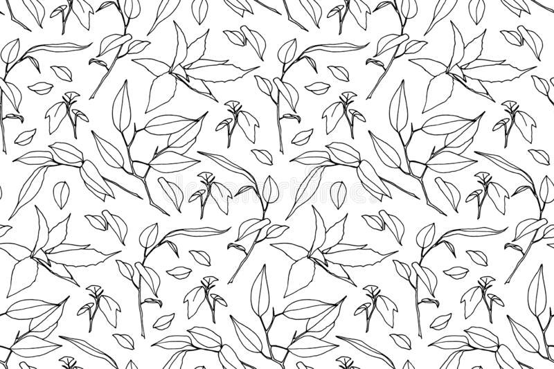 Hand drawn branches with leaves seamless pattern. Outline wild plants painted by ink. Vector modern botanical endless background vector illustration