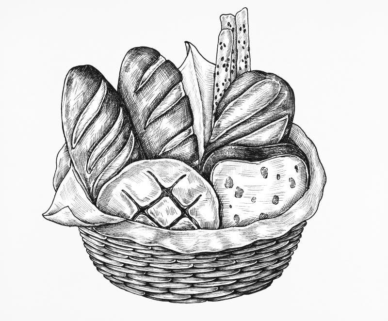 Hand drawn bread basket set royalty free illustration