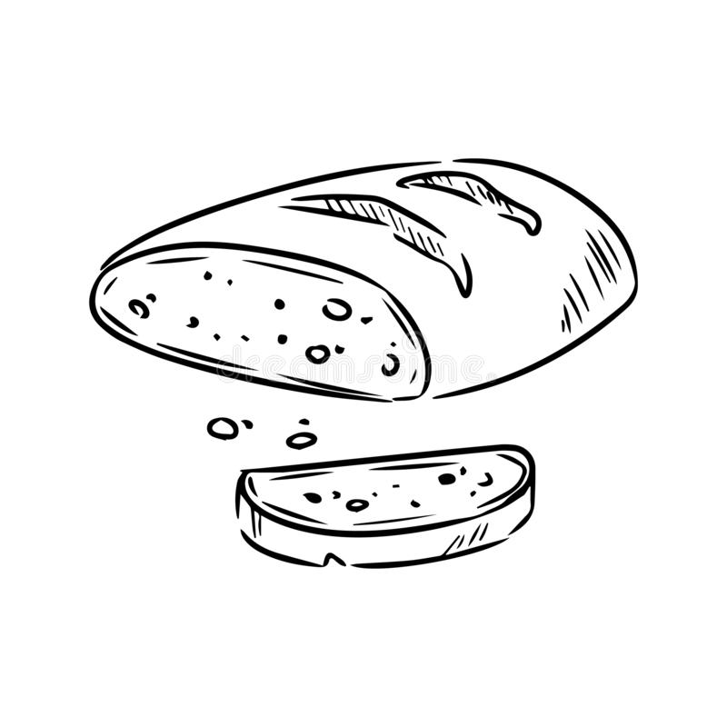 Hand drawn bread sketch doodle. Organic ecological food vector image royalty free illustration