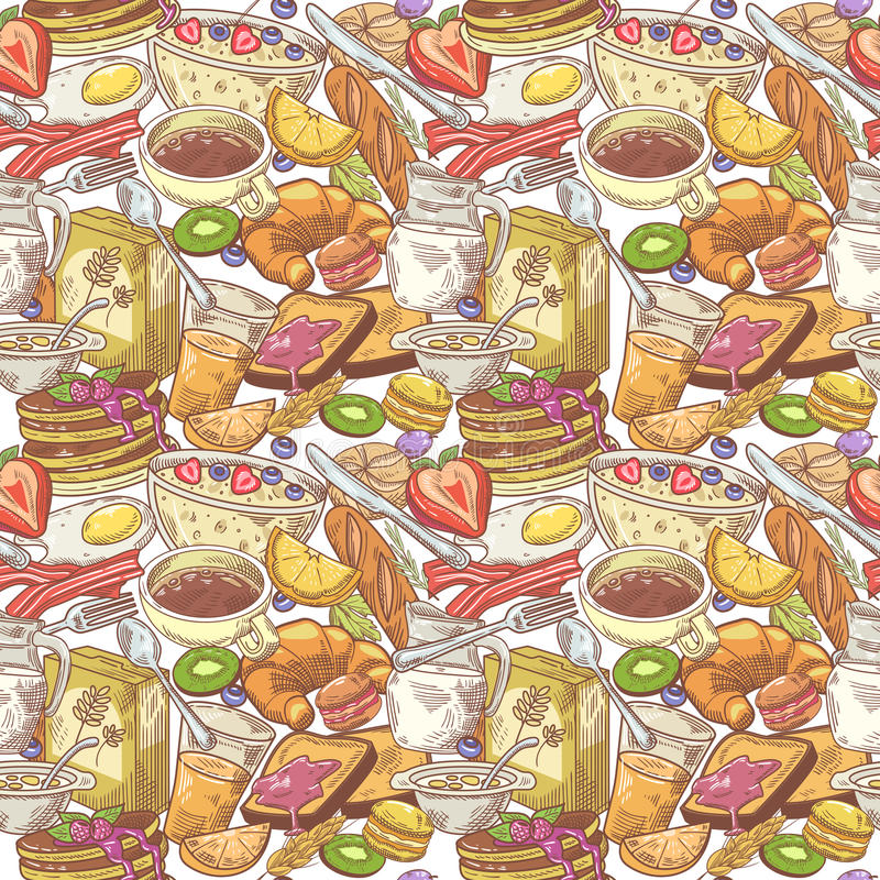 Hand Drawn Breakfast Seamless Pattern with Bakery, Fruits and Milk. Healthy Food Background royalty free illustration