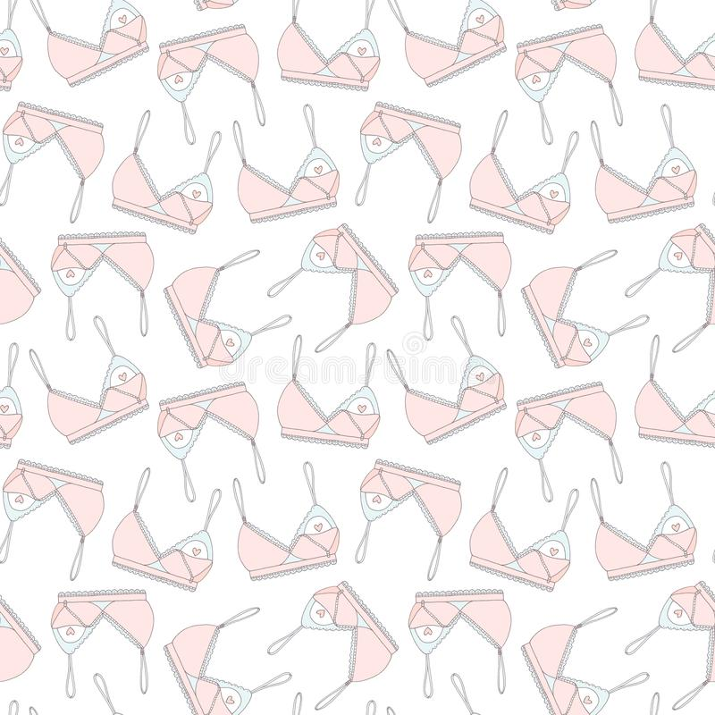 Hand drawn breastfeeding bra seamless pattern stock illustration