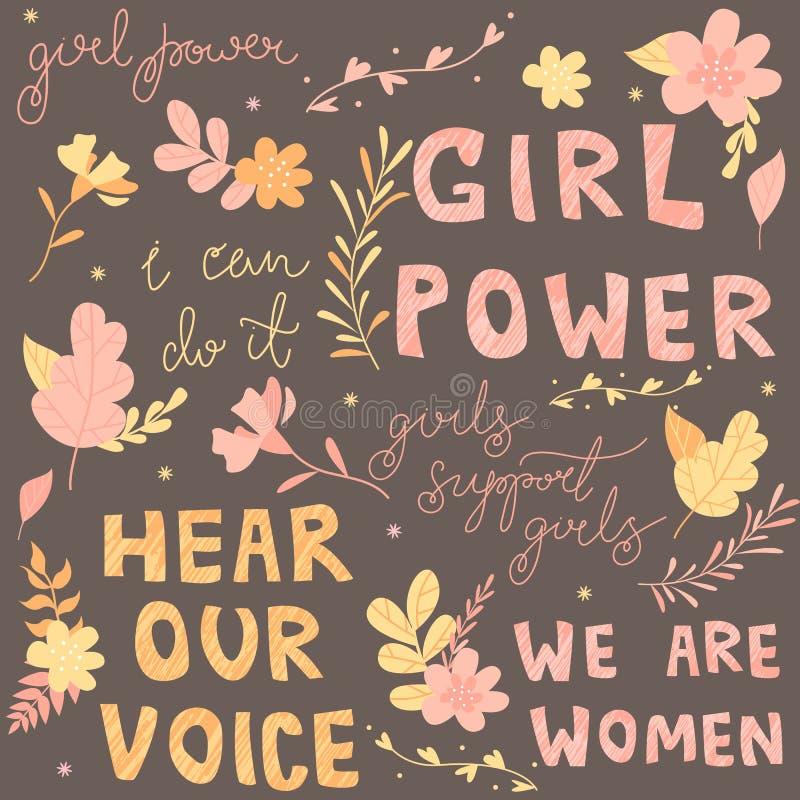 Hand-drawn brieven, uitdrukkingen pakken feminisme, bloemen en installaties, kleurrijke illustratie aan royalty-vrije illustratie