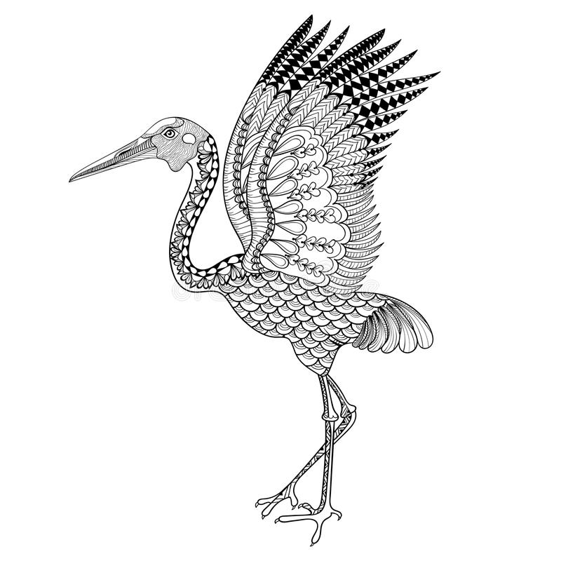 Hand drawn Brolga, Australian crane illustration for antistress. Coloring Page with high details isolated on white background, in zentangle style. Vector stock illustration