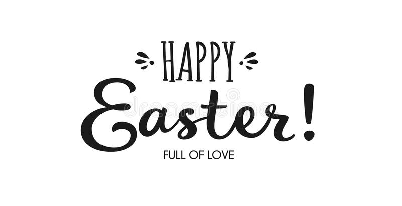 Hand drawn brush lettering of Happy Easter isolated on white background. vector illustration