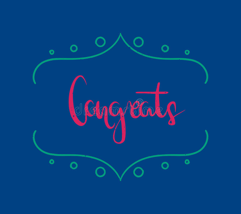 Hand drawn brush lettering of a phrase `Congrats`. Unique typography postcard or poster element made by hand. stock illustration