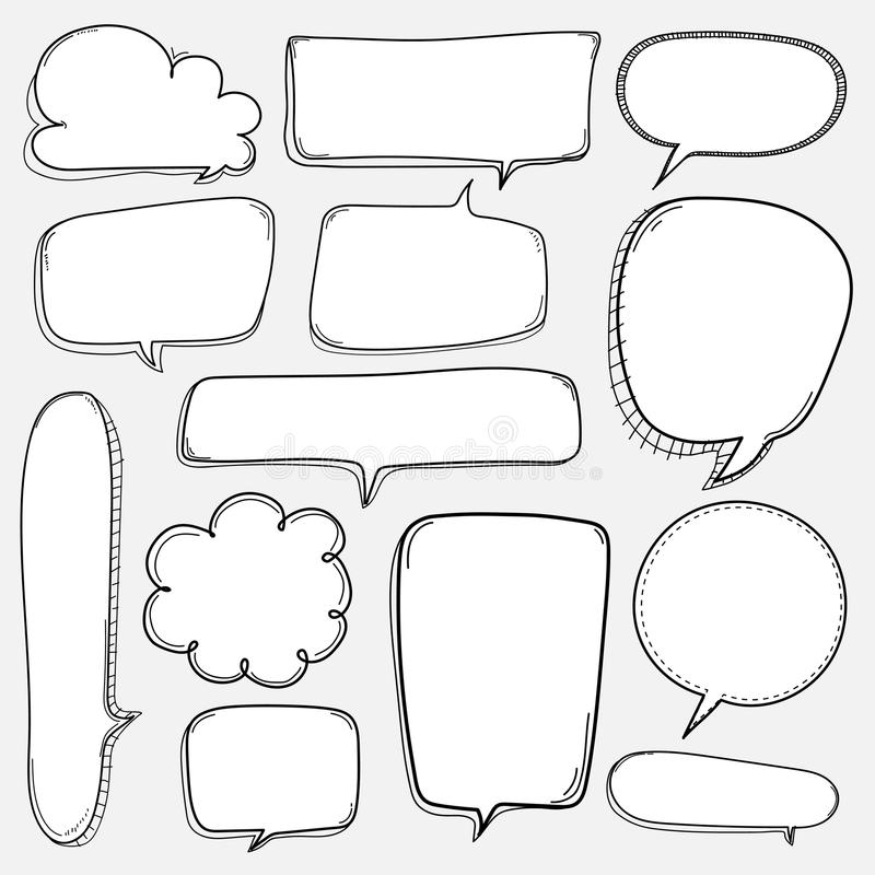 Hand Drawn Bubbles Set. Doodle Style Comic Balloon, Cloud Shaped Design Elements. royalty free illustration