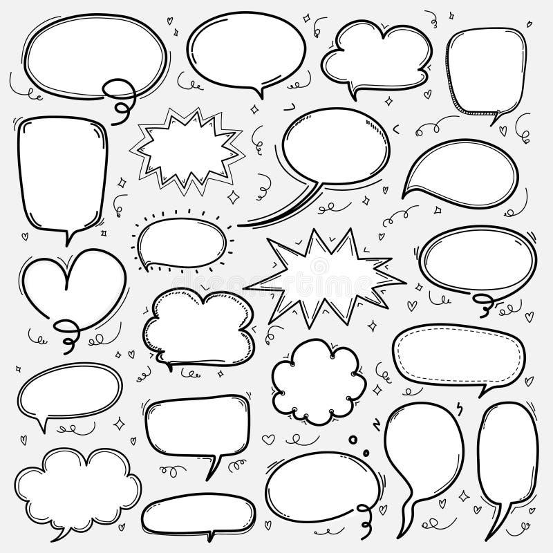 Hand Drawn Bubbles Set. Doodle Style Comic Balloon, Cloud Shaped Design Elements. royalty free illustration