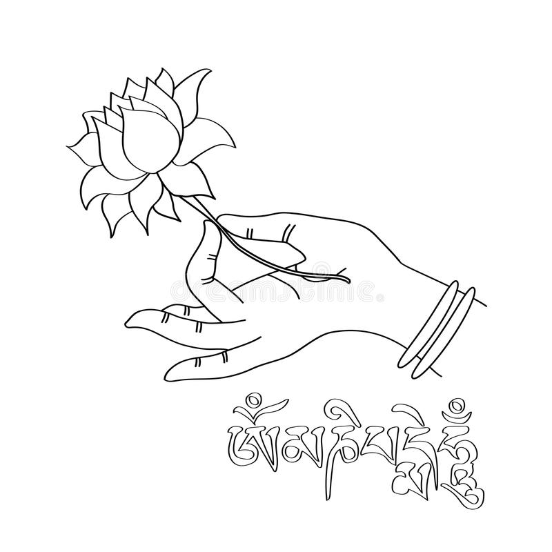 Hand drawn hand of buddah with lotus flower and sanskrit mantra download hand drawn hand of buddah with lotus flower and sanskrit mantra stock vector illustration mightylinksfo