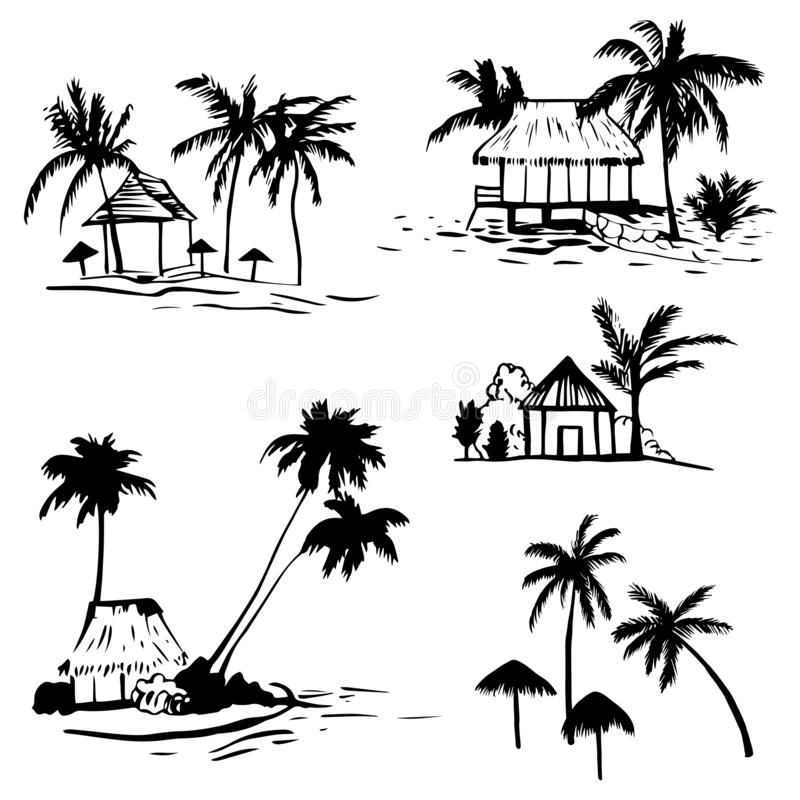 Bungalow with palm trees on the coast. Hand drawn bungalow with palm trees on the coast. Vector sketch illustration vector illustration