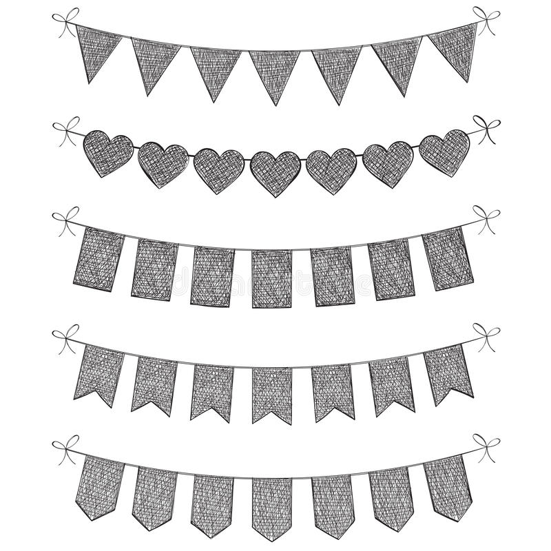 Set of bunting flags. Hand drawn illustrated set of bunting flags isolated on a white studio background vector illustration