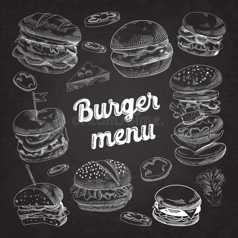 Hand Drawn Burgers on Blackboard. Fast Food Menu with Cheeseburger, Sandwich and Hamburger royalty free illustration