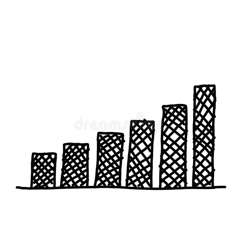 Hand drawn a business bar graph show to concept of data processing. Hand drawn a business bar graph show to concept of data processing on the white background royalty free illustration