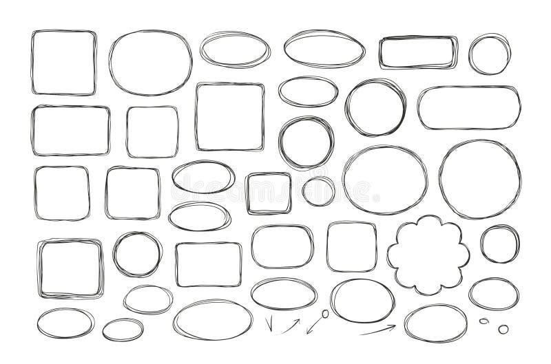 Hand drawn business doodles. Comic bubbles, schedule, flowchart concept. Sketch vector illustration. Hand drawn business doodles. Comic bubbles, schedule royalty free illustration