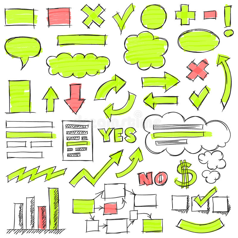 Hand Drawn Business Doodles Set. Hand drawn by pencil and highlighter business doodles. Optimized for one click color changes. EPS10 vector illustration stock illustration