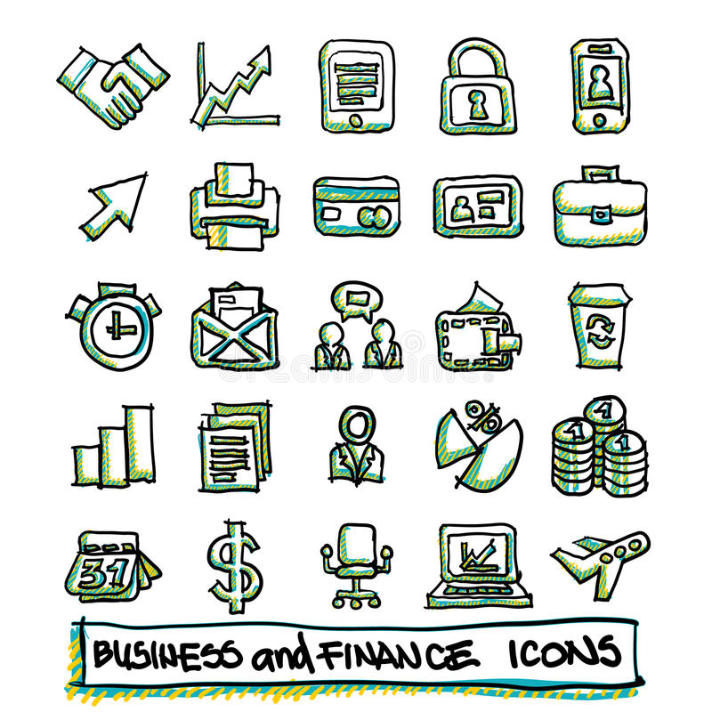 25 hand drawn business and finance icons collection. Vector format stock illustration