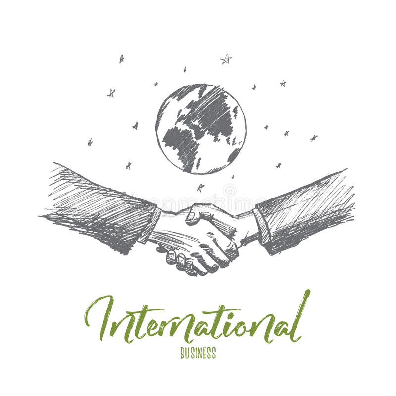 Hand drawn business handshake, globe at background royalty free illustration