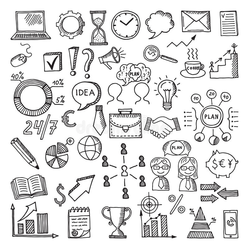 Hand drawn business icon set. Vector doodles illustrations isolate on white background stock illustration