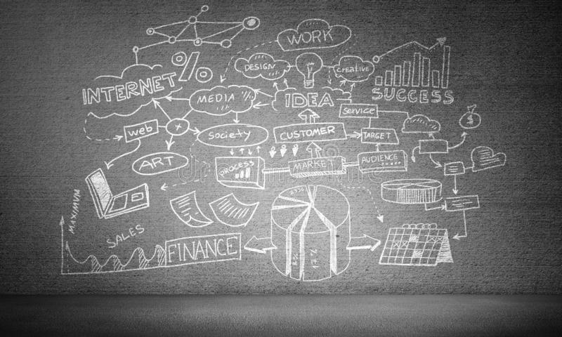 Business strategy and planning concepts. Hand drawn business plan information on grey concrete wall stock illustration