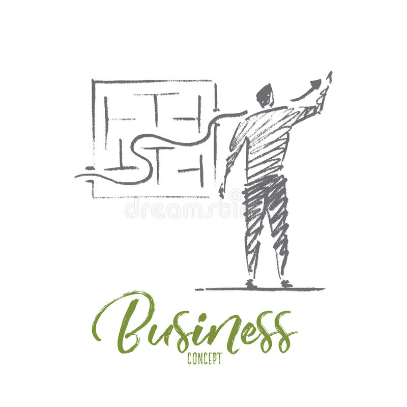 Free Hand Drawn Businessman Drawing Growth Indicator Stock Photos - 82334983